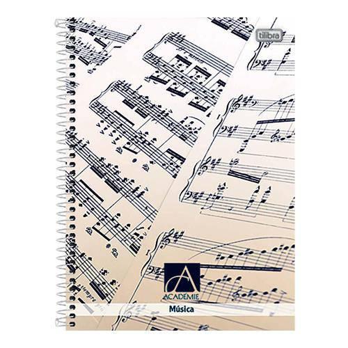 Caderno de Música Espiral Capa Dura Universitário Académie 96 Folhas Tilibra