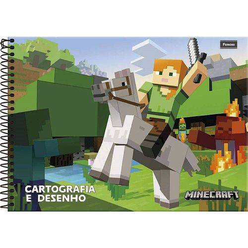 Caderno Desenho Univ Capa Dura Minecraft 96fls 6086 Foroni