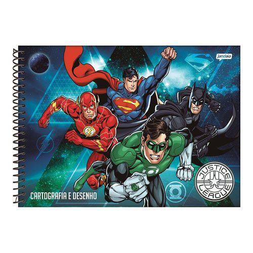 Caderno Espiral 275x200mm Capa Dura Cartografia 96 Folhas Liga da Justiça Azul Jandaia
