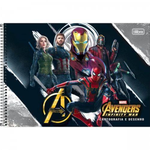 Caderno Espiral C D de Desenho Avengers 80 Folhas