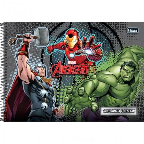 Caderno Espiral Capa Dura Cartografia e Desenho Avengers 96 Folhas - Sortido (Pacote com 4 Unidades)