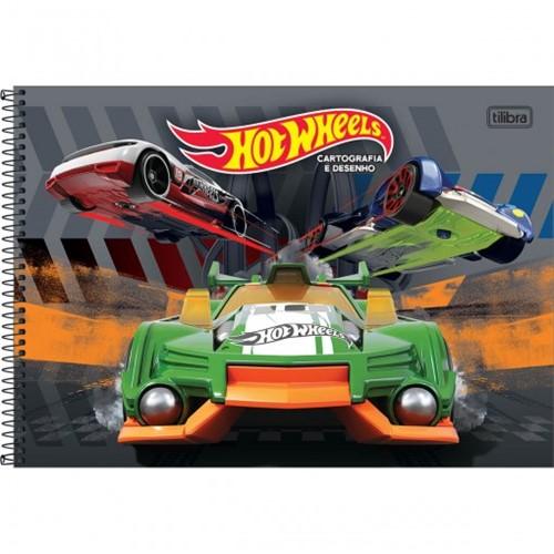 Caderno de Cartografia e Desenho Espiral Capa Dura Hot Wheels 96 Folhas (Pacote com 4 Unidades) - Sortido