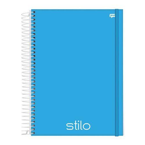 Caderno Espiral Capa Dura PP Universitário 10 Matérias 200 Folhas Stilo Azul Jandaia