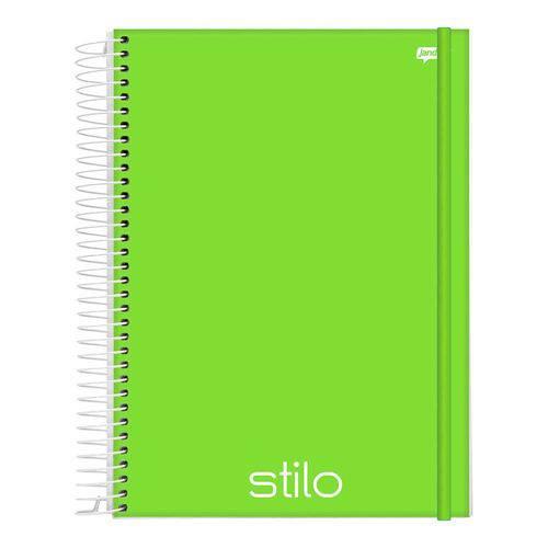 Caderno Espiral Capa Dura PP Universitário 1 Matéria 96 Folhas Stilo Verde Jandaia