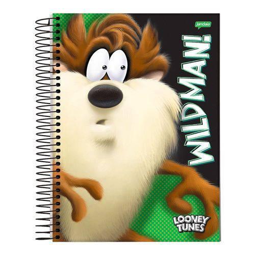 Caderno Espiral Capa Dura Universitário 1 Matéria 96 Folhas Taz Mania Looney Tunes Jandaia