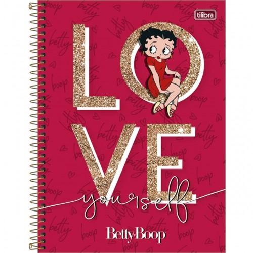Caderno Espiral Capa Dura Universitário 1 Matéria Betty Boop 80 Folhas (Pacote com 4 Unidades) - Sortido