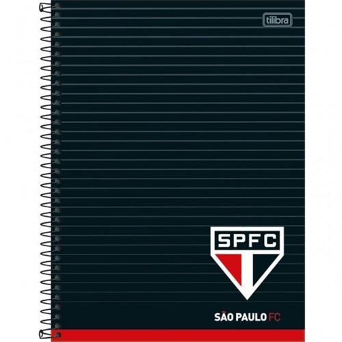 Caderno Espiral Capa Dura Universitário 1 Matéria Clube de Futebol São Paulo 80 Folhas (Pacote com 4 Unidades) - Sortido