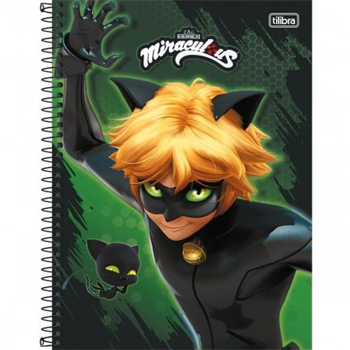 Caderno Espiral Capa Dura Universitário 1 Matéria Miraculous: Cat Noir 80 Folhas - Sortido (Pacote com 4 Unidades)