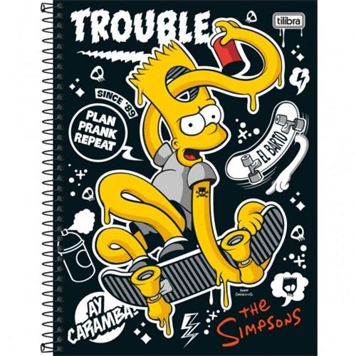 Caderno Espiral Capa Dura Universitário 10 Matérias Simpsons 200 Folhas - Sortido