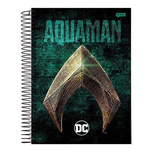 Caderno Espiral Capa Dura Universitário 10 Matérias 200 Folhas DC Aquaman Jandaia