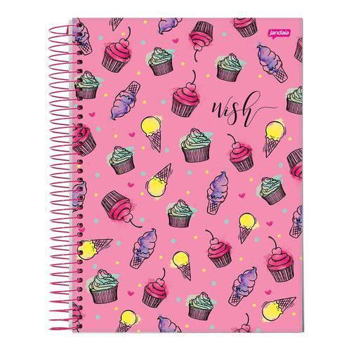 Caderno Espiral Capa Dura Universitário 10 Matérias 200 Folhas Wish Pink Jandaia