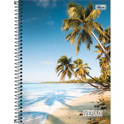 Caderno Espiral Capa Dura Universitário 10 Matérias Verão 200 Folhas - Sortido (Pacote com 4 Unidades)