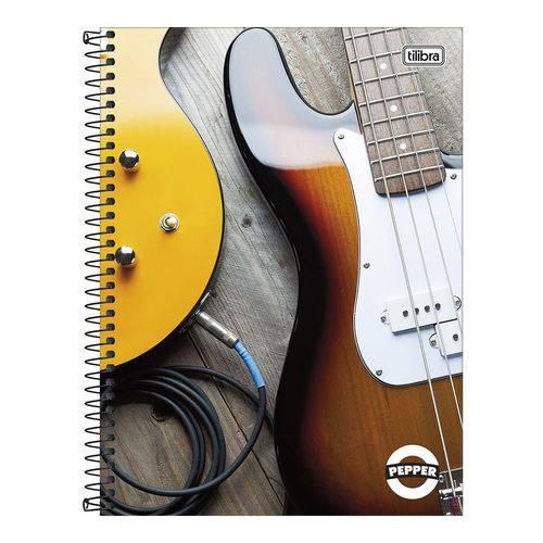 Caderno Espiral Capa Dura Universitário 12 Matérias 192 Folhas Pepper Guitarra Tilibra