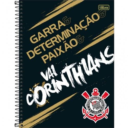 Caderno Espiral Capa Dura Universitário 16 Matérias Clube de Futebol Corinthians 256 Folhas (Pacote com 2 Unidades) - Sortido