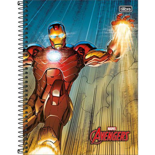 Caderno Espiral Capa Dura Universitário Homem de Ferro 10M 200 Folhas - Tilibra