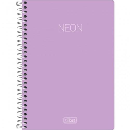 Caderno Espiral Capa Plástica 1/4 Neon Lilás 80 Folhas
