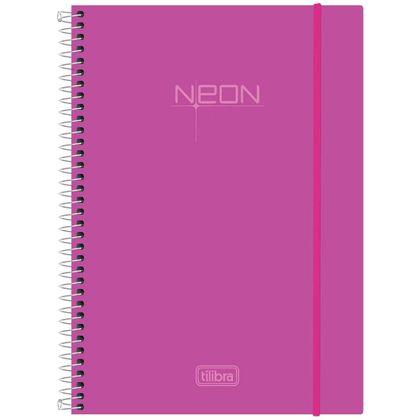 Caderno Espiral Capa Plástica Universitário 1 Matéria Neon Rosa 96 Folhas - Tilibra Tilibra