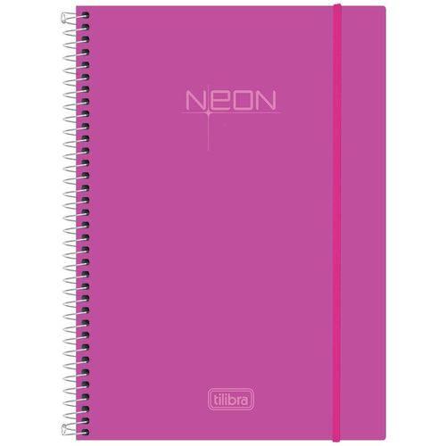 Caderno Espiral Capa Plástica Universitário 1 Matéria Neon Rosa 96 Folhas Tilibra