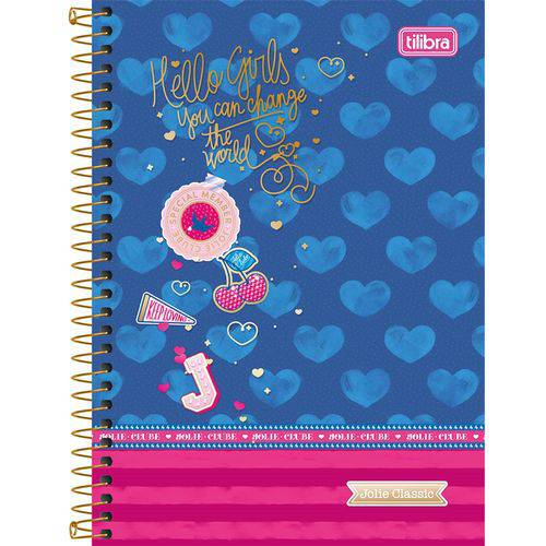 Caderno Espiral Jolie Classic 96 Folhas - Tilibra - Azul