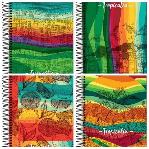 Caderno Espiral Universitário Capa Dura 10 Matérias 200 Folhas Tropicália Jandaia