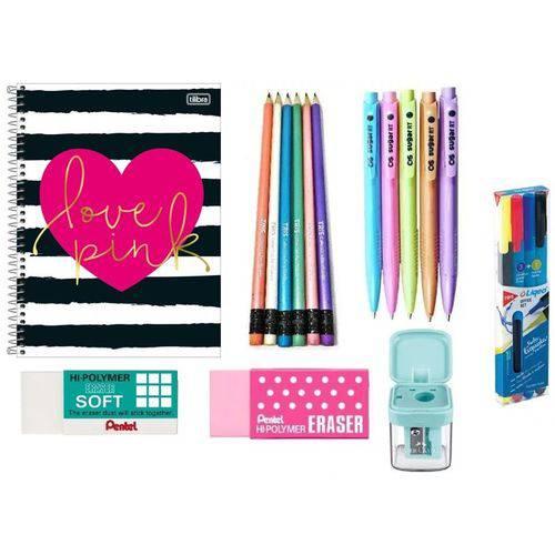 Caderno Love Pink Tilibra 96 Folhas + 6 Lápis Pretos Tris + 5 Canetas Cis Sugar RT + 2 Borrachas Pentel + Apontador Faber Castell + 3 Canetas Tris e Marca Texto
