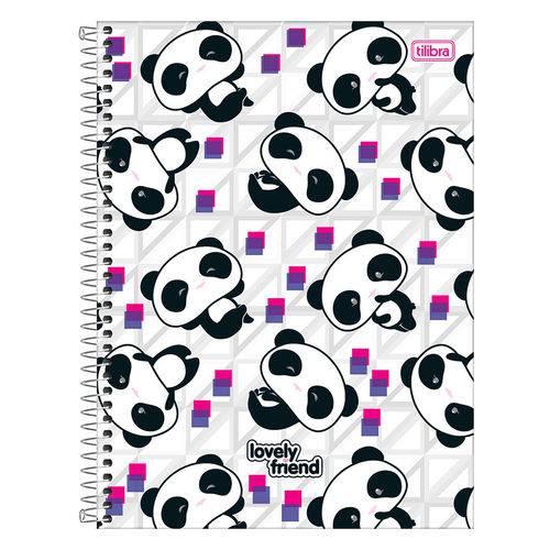 Caderno Lovely Friend - Pandas - 1 Matéria - Tilibra