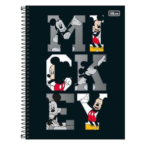 Caderno Mickey Mouse - Preto - 1 Matéria - Tilibra