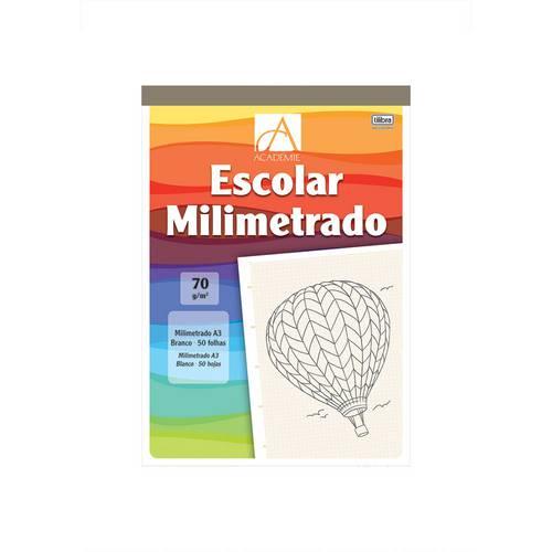 Caderno Milimetrado A3 Colado ao Alto Branco 50 Folhas Académie Tilibra
