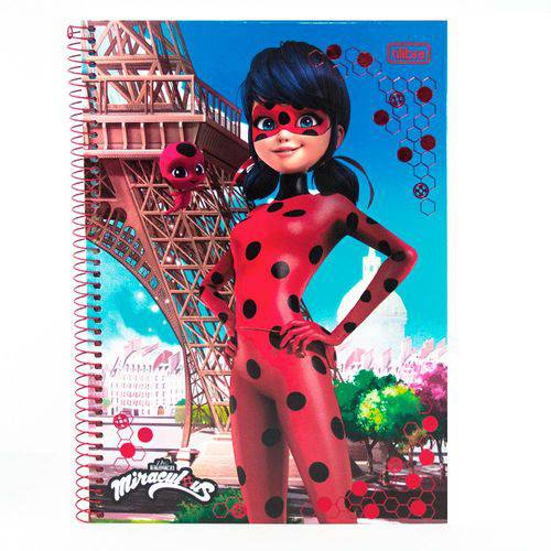 Caderno Miraculous Ladybug Torre 1 Materia - Tilibra