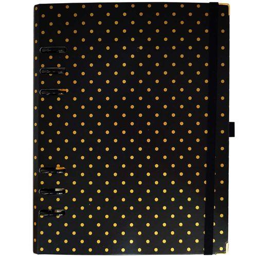 Caderno Organizador Gold Planner Polka Dot Preto Ótima 1027012