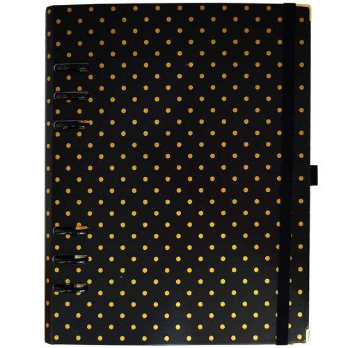 Caderno Organizador Gold Planner Polka Dot Preto Ótima