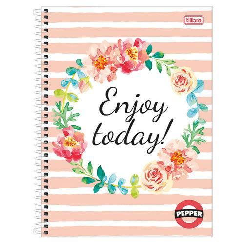 Caderno Pepper Feminino - Enjoy Today - 16 Matérias - Tilibra