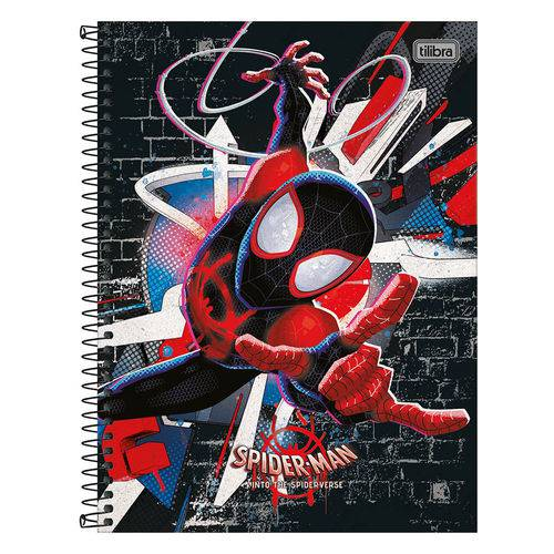 Caderno Spider Man Into The Spider-verse - Preto - 80 Folhas - Tilibra