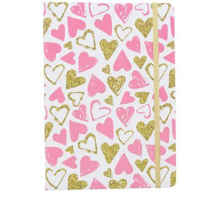 Caderno STZ Corações Rosa -