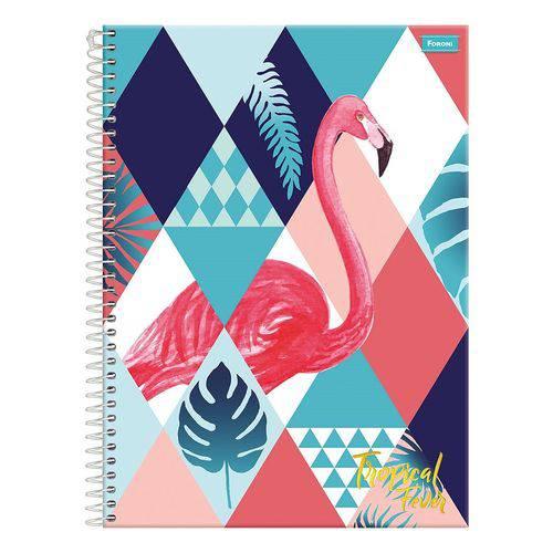 Caderno Tropical Fever - Flamingo - 15 Matérias - Foroni