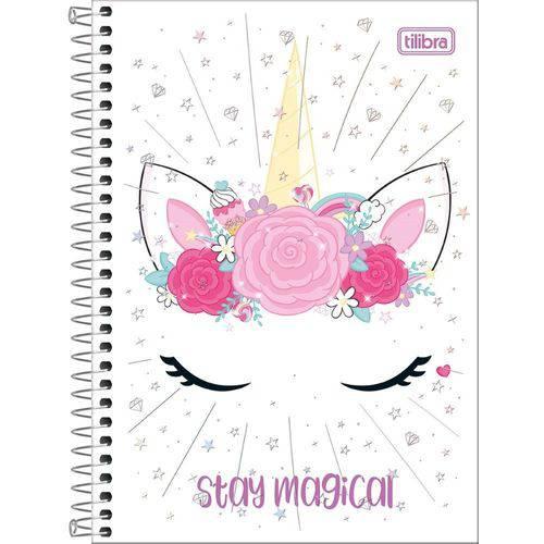 Caderno Univ. 10 Mat. Unicórnio Blink Stay Magical Espiral Capa Dura Tilibra