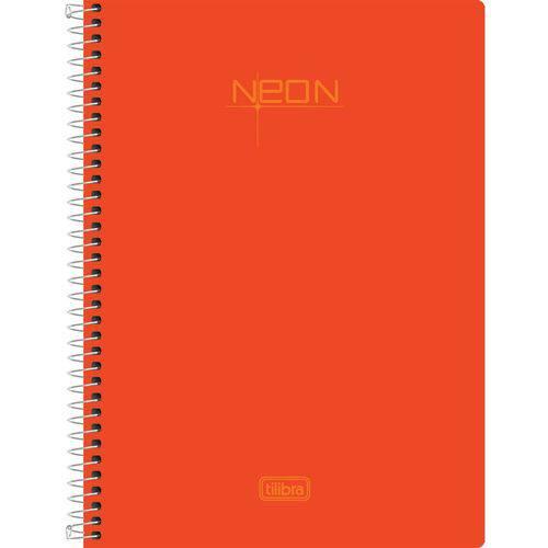 Caderno Univ Tilibra Neon 200 Folhas 10 Matérias Laranja