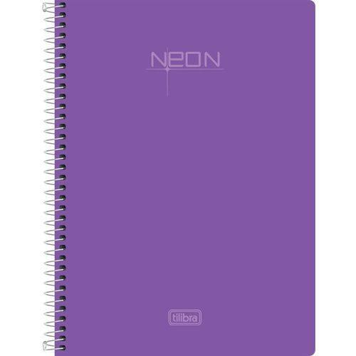 Caderno Univ Tilibra Neon 200 Folhas 10 Matérias Lilás