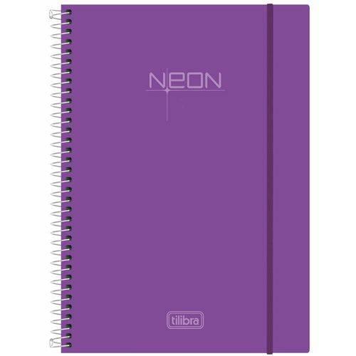 Caderno Universitário 1 Matéria Capa Dura Espiral Neon Lilás Tilibra