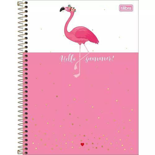 Caderno Universitário Aloha Flamingo 10 Matérias Tilibra
