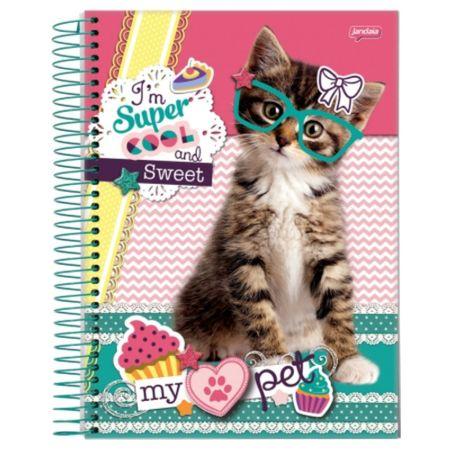 Caderno Universitário Espiral 1X1 96 Folhas Capa Dura Jandaia - My Pet 02