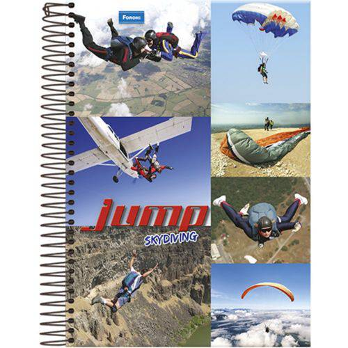 Caderno Universitário Espiral 1X1 96 Folhas Capa Dura Jump Foroni - Skydiving