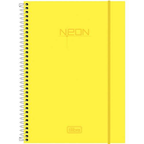 Caderno Universitário Tilibra Neon Amarelo Capa de Polipropileno - 96 Folhas