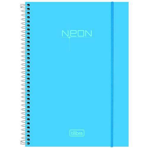 Caderno Universitário Tilibra Neon Espiral Cd 096 Fls Azul 141429