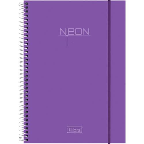 Caderno Universitário Tilibra Neon Lilás Capa de Polipropileno - 200 Folhas