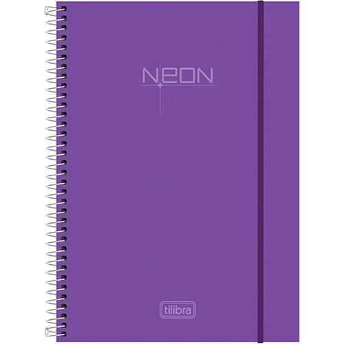 Caderno Universitário Tilibra Neon Lilás Capa de Polipropileno - 96 Folhas