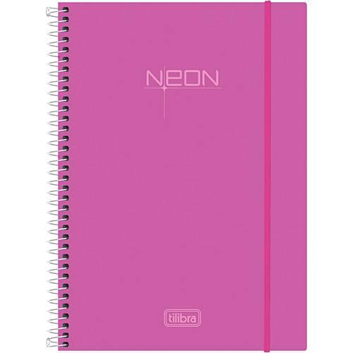 Caderno Universitário Tilibra Neon Rosa com Capa de Polipropileno - 96 Folhas