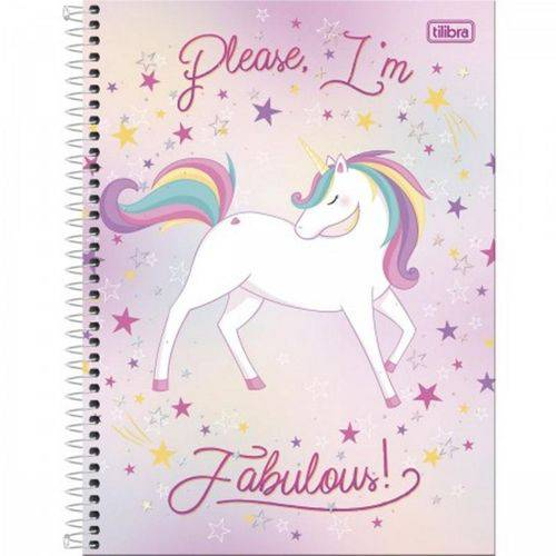 Caderno Universitário Unicórnio Please I'm Fabulous