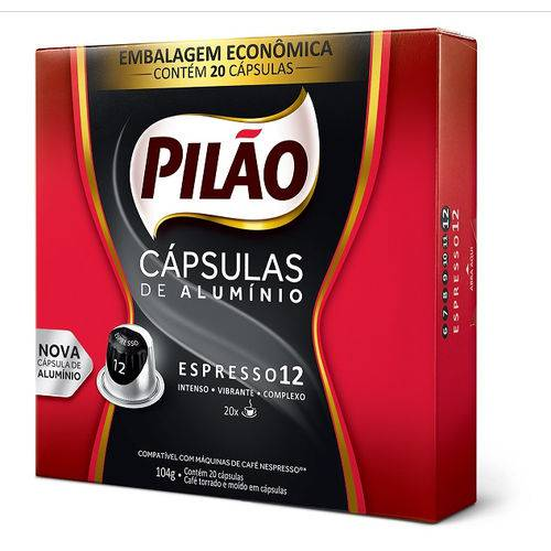 Cafe Capsula Espresso Pilao 12 52g C/20 Unidades