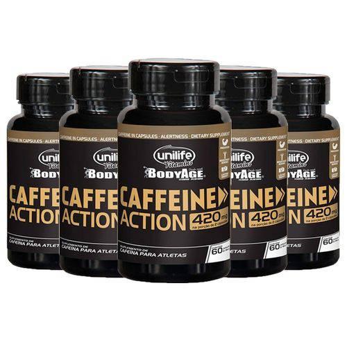 Caffeine Action (Cafeína) 420mg - 5 Un de 60 Cápsulas - Unilife